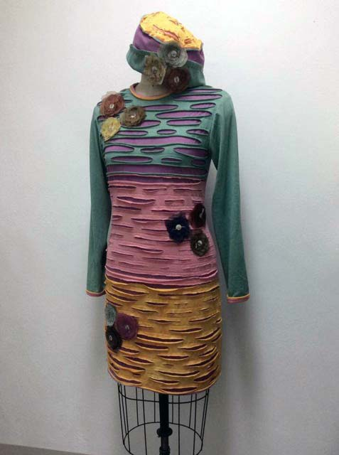 ecoprint and dyed designs and sewing
